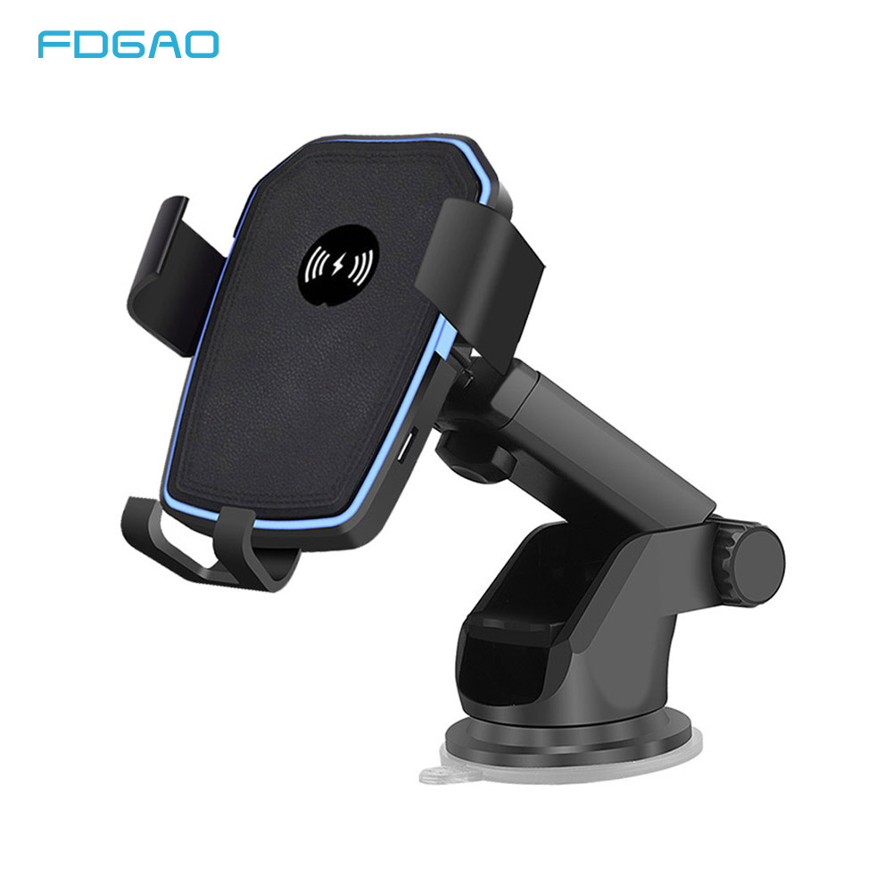 10W Car Mount Qi Wireless Charger For iPhone XS X XR 8 Fast Wireless Charging Car Phone Holder For Samsung Note 9 S10 S9 S8 in Wireless Chargers from Cellphones Telecommunications