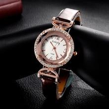 2016 top luxury brand GoGoey unique Crystal designer clock women ultra thin  leather straps Quartz Watches mini ladies watch