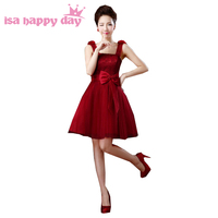 burgundy sexy bridsmaid brides high fashion dress for a special occasion dress for girls short fantasia girl dresses 2019 H2693