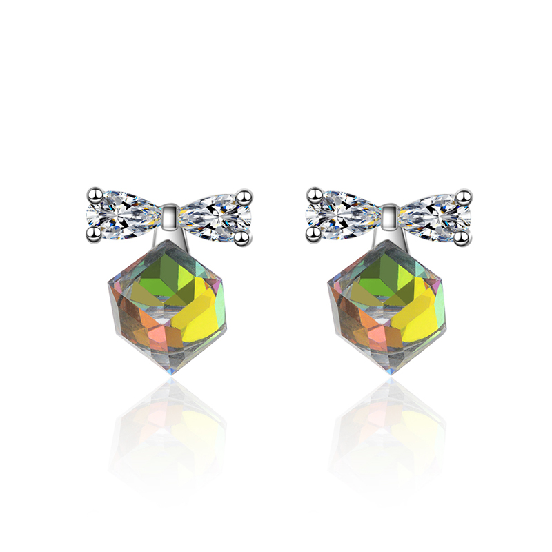 KOFSAC Shiny Crystal Blue Water Cube Zircon Bow Stud Earrings Fashion 925 Silver Earring For Women Jewelry Valentine 39 s Day Gift in Stud Earrings from Jewelry amp Accessories