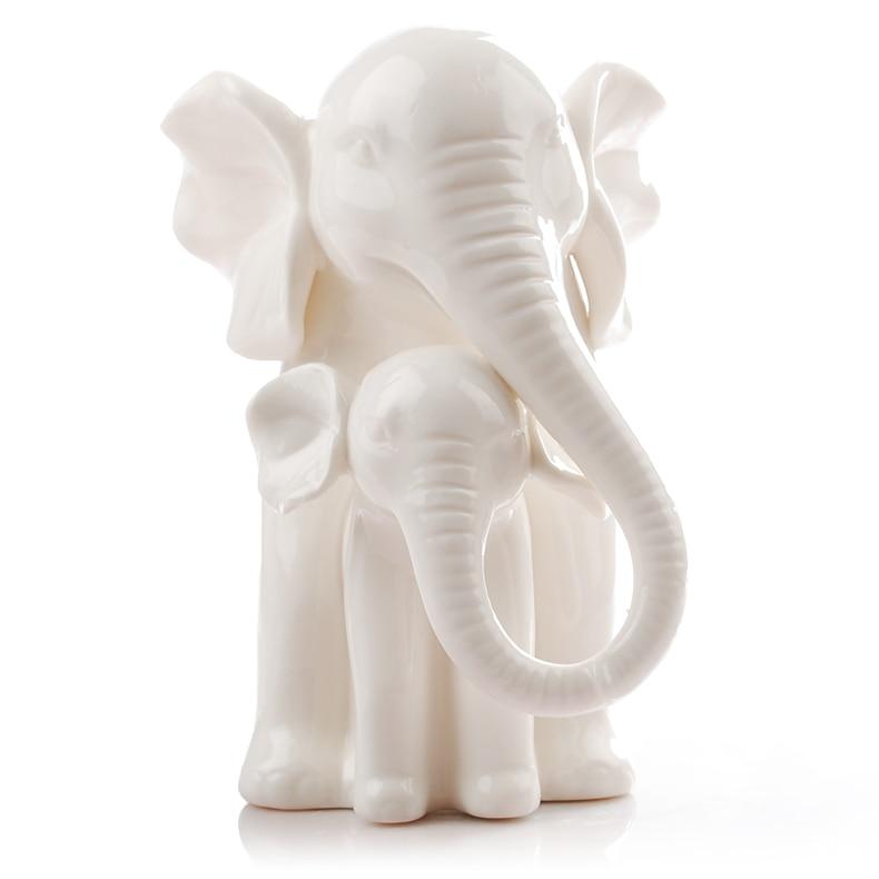 White Ceramic Elephant Home Decor Crafts Room Decoration Kawaii Ornament Porcelain Figurines Animal In Miniatures