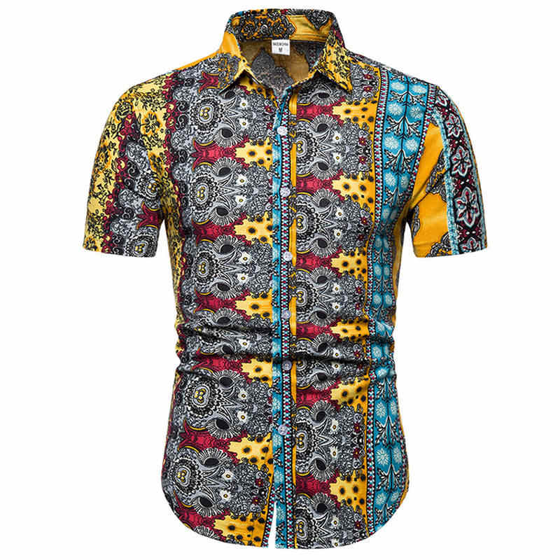 はアロハシャツメンズ男性カジュアルカミーサ masculina プリントビーチシャツ半袖ブランド服送料無料アジアンサイズ 5XL
