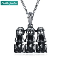 Punk Stainless Steel Animal Monkey Pendant Necklaces For Men Retro Viking Antique Silver Plated Hip Soldier