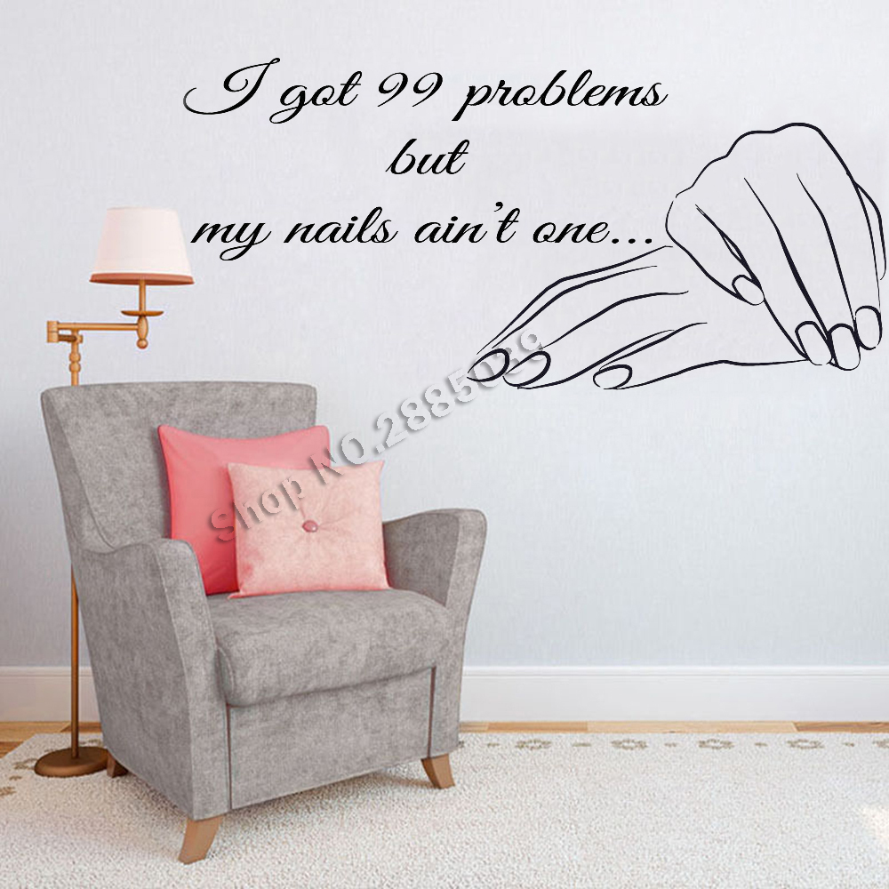Nails Quote Wall Stickers Nail Shopwindow Sign Vinyl Decals Wall Decor Manicure Salon Wa ...