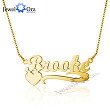Chapado En oro Nombre DIY 925 Plata Esterlina Personalizado Corazón Collares y Colgantes Mejor Regalo de Los Amantes Con la Caja (JewelOra NE101466)