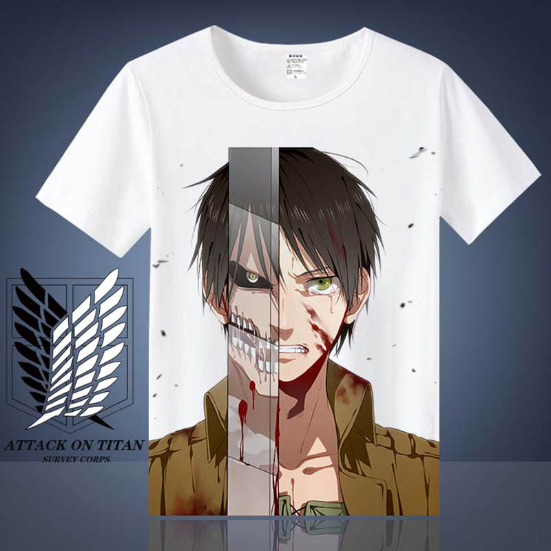 Coshome Attack on Titan T shirt Shingeki No Kyojin Mikasa Levi Cosplay T-shirts Costumes Men Women Short Sleeve Summer Tees Tops (5)