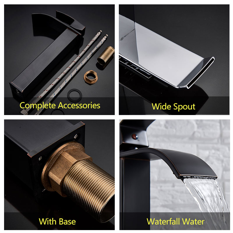 Image 4 - Suguword Tall Basin Sink Faucet Chrome/Brushed/ORB Balcony Mixer Tap Hot Cold One Hole Install Deck Mounted Bathroom Faucet-in Basin Faucets from Home Improvement