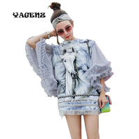 2017 New Spring Summer Women Casual Long Blouses Ladies Horse Print Tops Petal Ruffles Sleeve Streetwear