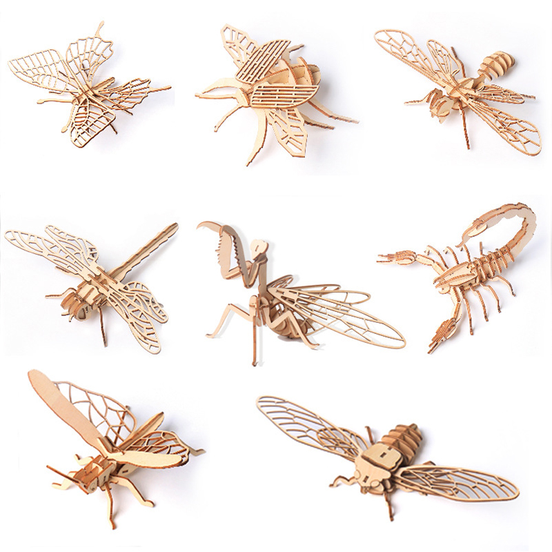 Kids Toys Wooden Puzzles Imitate Animals Insect Style 3D Puzzle Insert Figsaw Games Educational Toys Baby For Child Gift