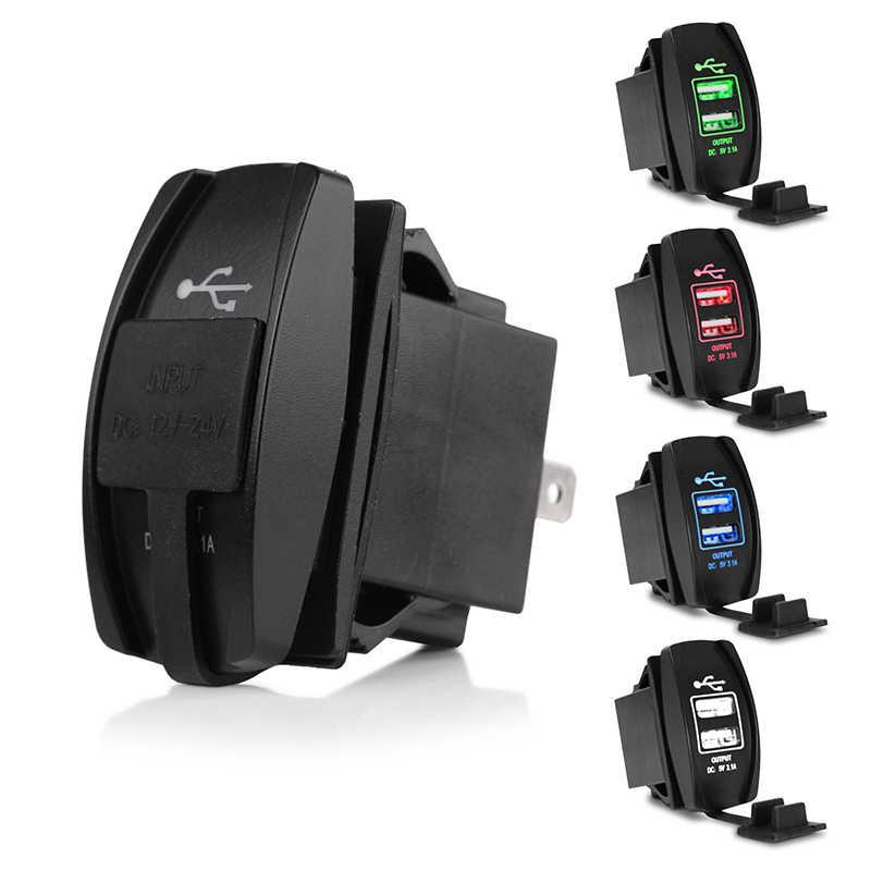 Cargador USB de coche encendedor de cigarrillos adaptador de corriente 12-24V 3.1A cargador USB Dual para coche barco motocicleta camión ATV