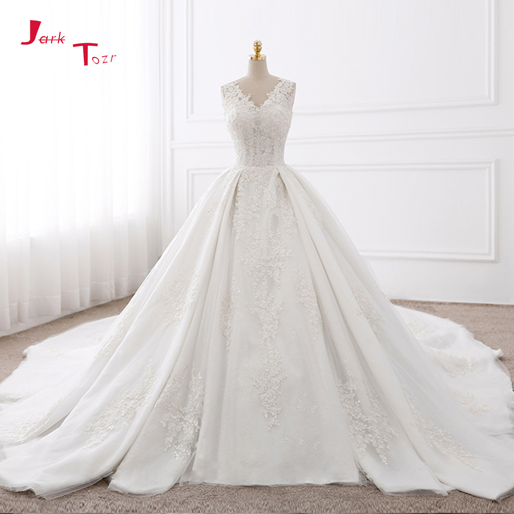 Jark Tozr Custom Made V-neck Chapel Train Appliques Lace Gorgeous Ball Gown Wedding Dresses With Biggest Petticoat 2019 Mariage