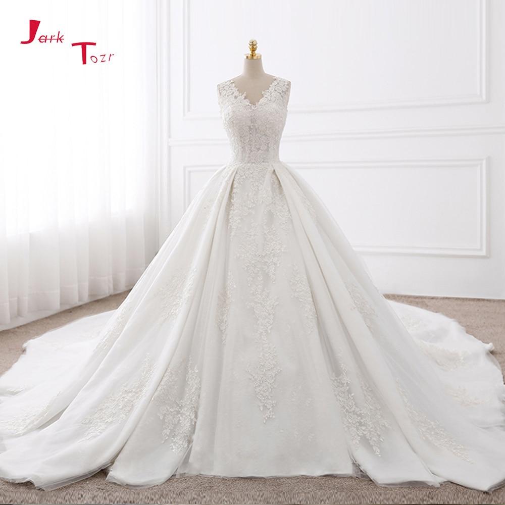 Largest Wedding Dress: Jark Tozr Custom Made V Neck Chapel Train Appliques Lace