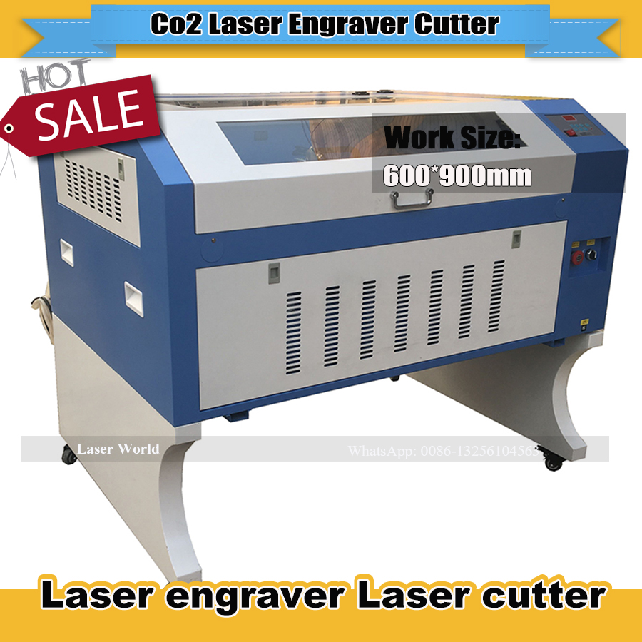 2018 CO2 Laser Engraver Machine 80W/100W  Laser Engraving TS6090 9060 600*900mm Motorized Up And Down Working Table