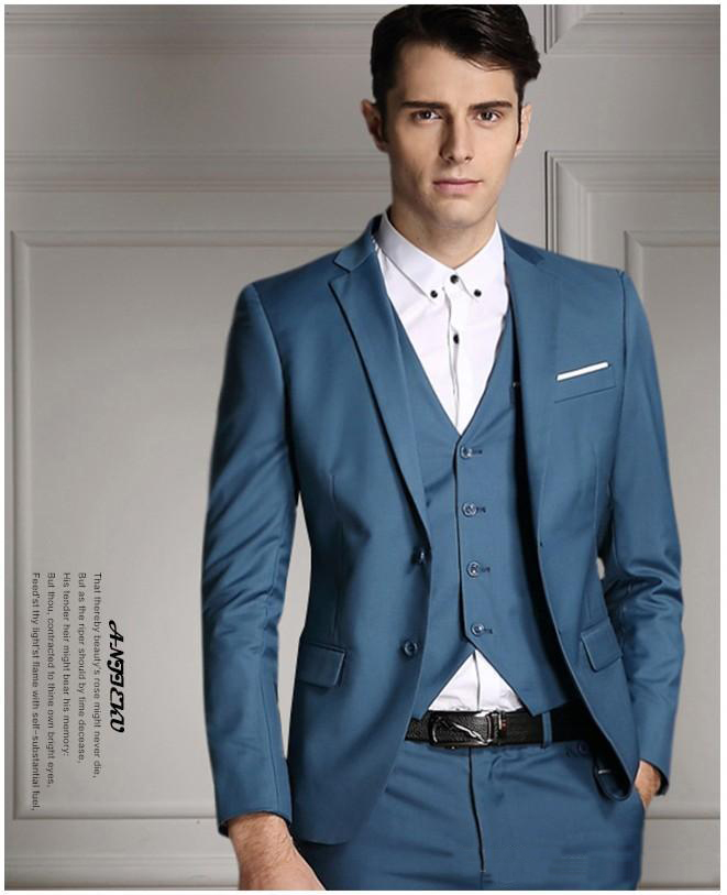 Slim fit mens Suit wedding Tuxedos acket+Pants+Tie+Vest custom made ...