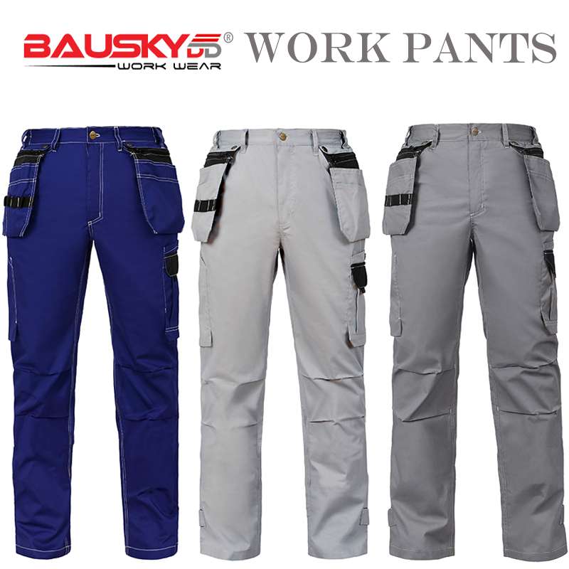 c8fe48f0d4d6 Bauskydd Summer Mens Durable Work Pants Trousers with Detachable Pocket T C  65 35 Light Thin Fabric
