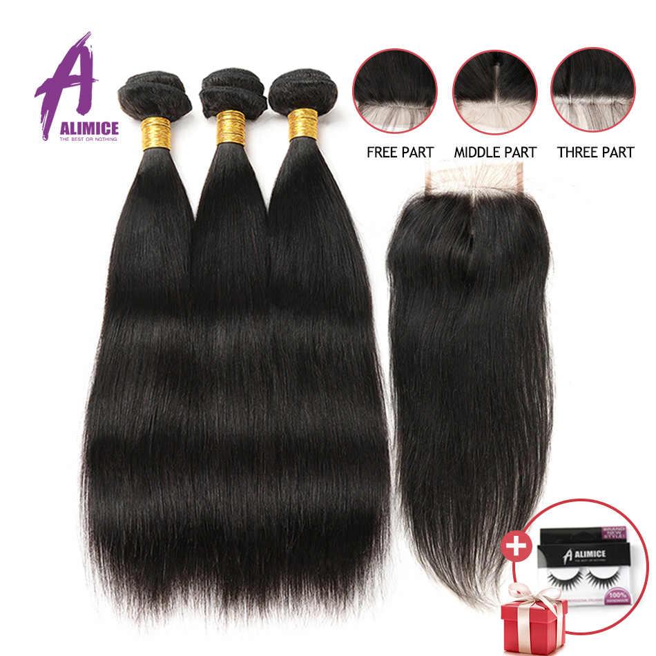 Прямые человеческие волосы пучки с кружевом бразильские волосы с закрытием переплетения пучки с закрытием алимис 3 пучка с закрытием не Реми