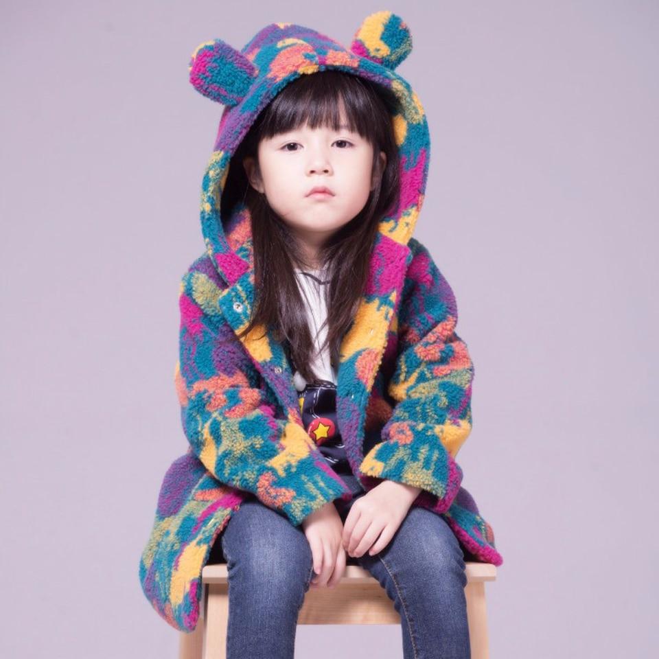 ФОТО Buenos Ninos Girls Fleece Jacket Children Autumn/Winter Cashmere Windbreaker Camouflage Kids Outerwear Thick Cartoon Coat
