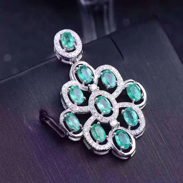 Hermosa natural esmeralda colgante 10 unids 3*5mm esmeralda 3 ct piedra preciosa esmeralda sólido 925 de plata colgante de collar regalo para la esposa