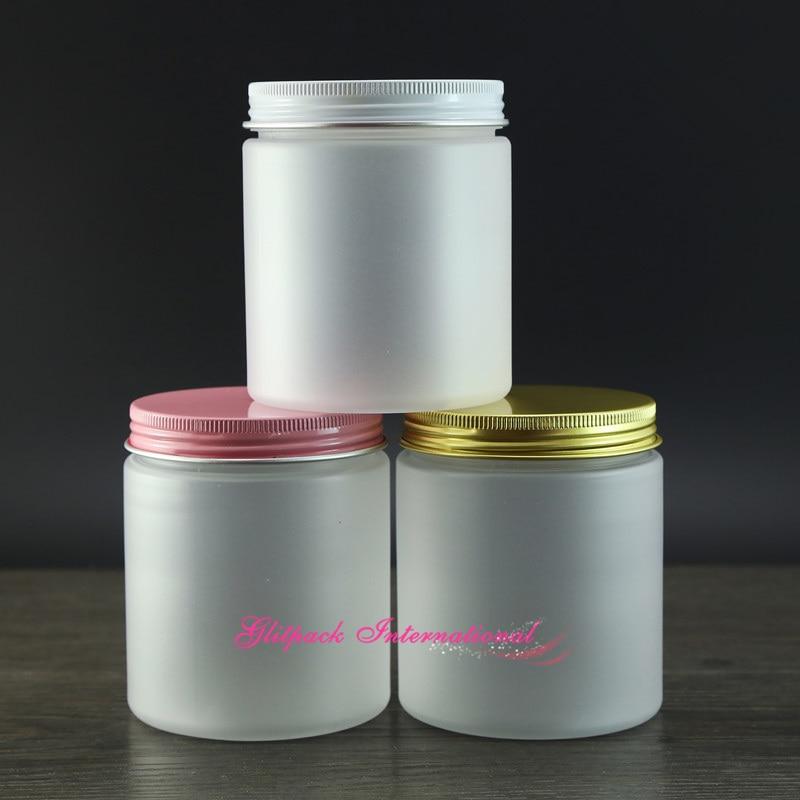 30pcs/lot Frosting 8oz PET Jars For Cosmetics 250g  Plastic Jar Crafts Spa Salt Scrub Body Cream Containers W/ Aluminium Closure