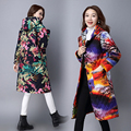 Parkas for Women Winter Jacket 2017 Autumn Fashion Ladies Long Sleeve Printed Hooded Oversized Long Down Coat Woman Big size