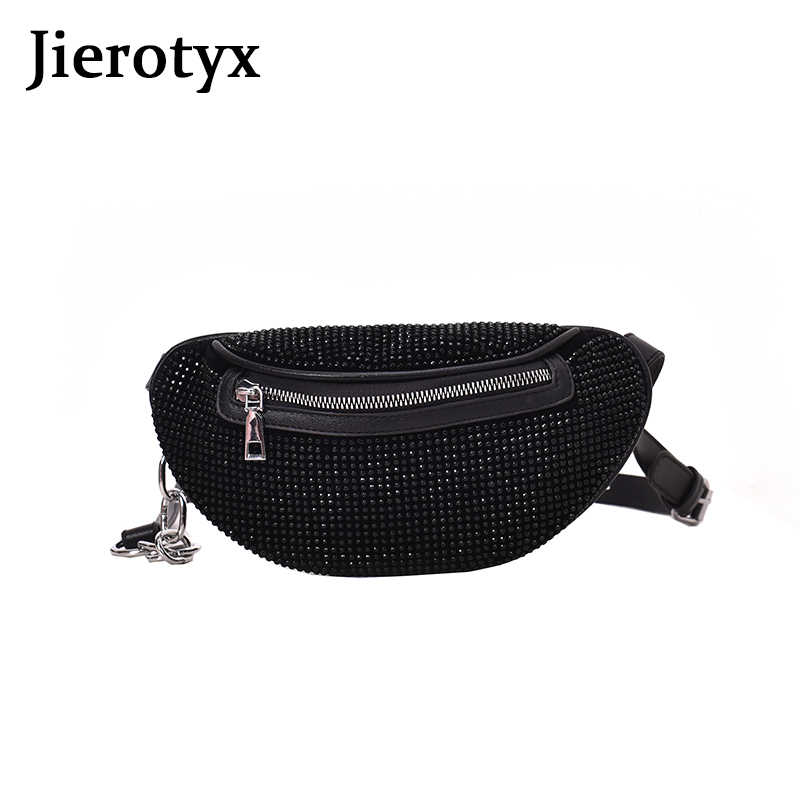 JIEROTYX Diamonds Women Belt Bag Phone Sexy Rhinestone Female Fanny Pack Waist Pack Chest Bags Small Purse Good Quality Discount