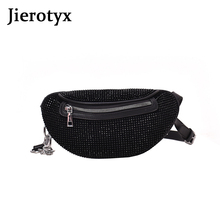 JIEROTYX Diamonds Women Belt Bag Phone Sexy Rhinestone Female Fanny Pack Waist Chest Bags Small Purse Good Quality