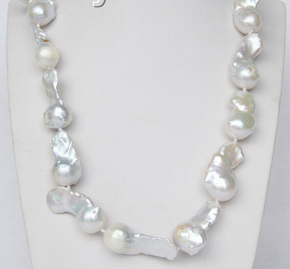 """Free Shipping luster 17"""" 35mm white Reborn keshi pearls necklace 925 silver clasp j9368"""