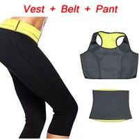(Broek + vest + riem) hot selling super stretch neopreen shapers kleding sets vrouwen afslanken broek taille trainer gordel body