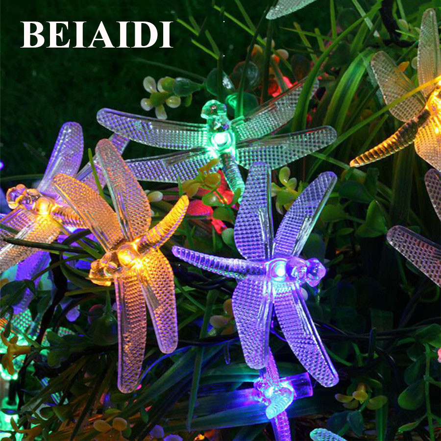 BEIAIDI Dragonfly Garden Solar Led String Light 4.8M 20Leds Christmas Solar String Garland Lights For Patio Garden Yard Fence