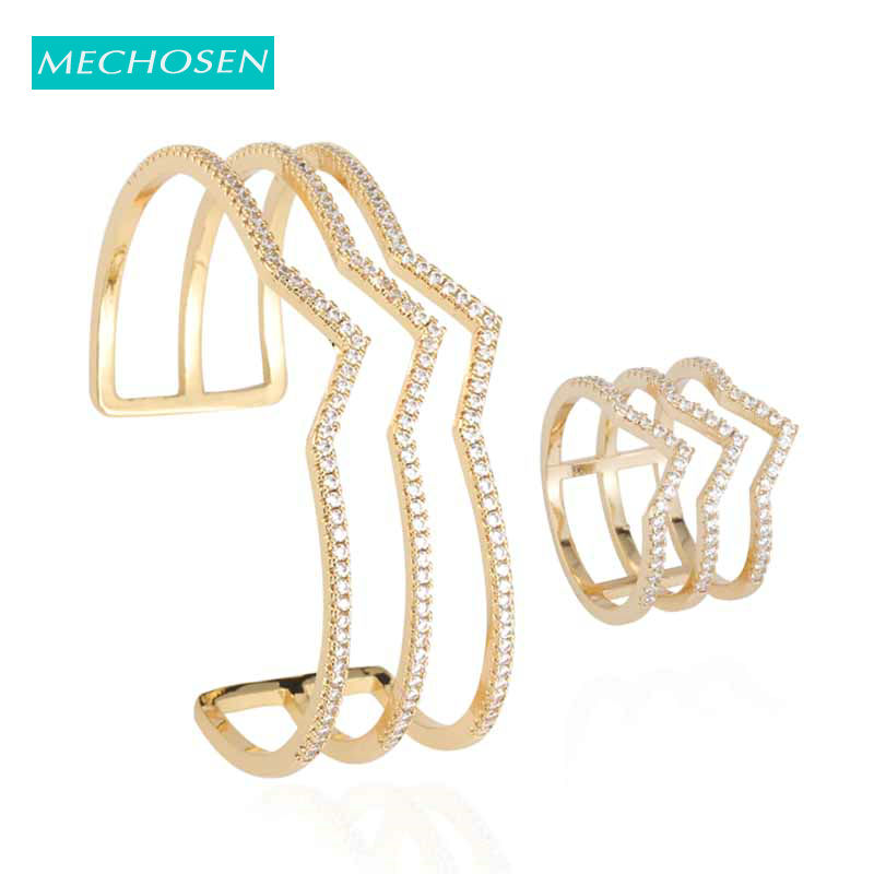 MECHOSEN New Luxury Geometric Multilayer Gold Shiny Full Zircon Ring Bangle Jewelry Set For Wedding Party Women Accessories 2019