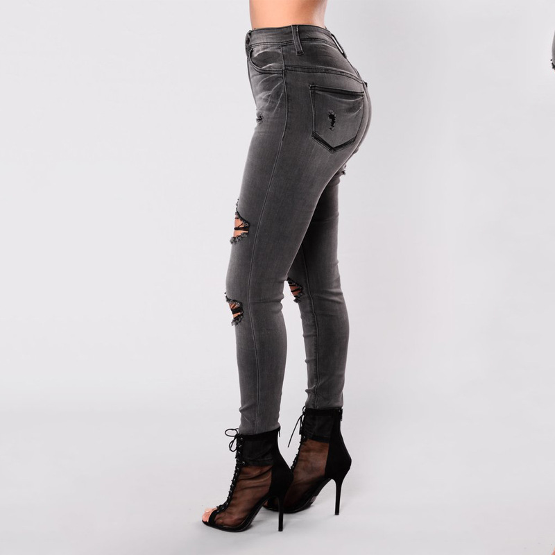4b82e7432846e 2017 New Plus Size Moustache Effect Women Ripped Jeans Dark Gray High Waist  Damaged Hole Skinny Pencil Jeans Femme Fashion -in Jeans from Women s  Clothing ...