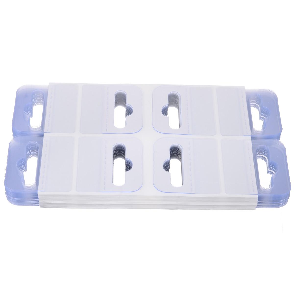 200Pcs PVC Slot Hole Adhesive Hang Tabs Tag Hook Set For Store Retail Display US