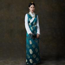 цена на Silk Cotton Satin flowers Autumn Wear Tibetan Lhasa dress Tibet Daily Traditional Gown Robe Unique Ethnic minority clothes