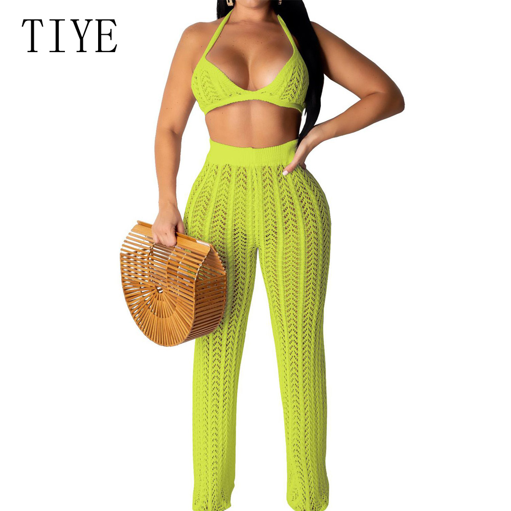 TIYE Sexy Perspective Two-Piece Set Knitted Grid   Jumpsuit   Women Openwork Sleeveless Off Shoulder Playsuit Summer Beachwear