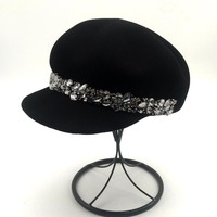 QPALCR Fashion Rhinestone Fedoras Octagonal Women Equestrian Knight Cap Wool Felt Hats For Woman Casual Autumn Winter Hat