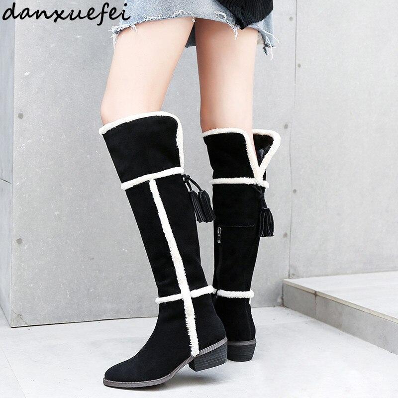 616d32ad9b Black Sobre Genuino Felpa Invierno Para De Botas Largas Venta Cuero Mujeres  Rodilla Gamuza Zapatos Nieve ...