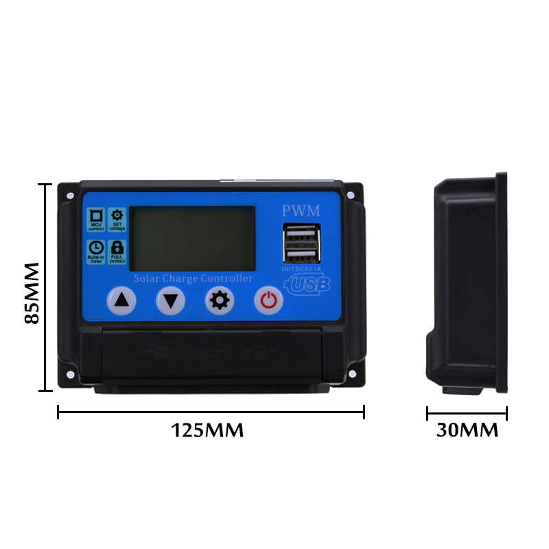 PWM 10A/20A/30A/70A/50A Solar Charge Controller Dual USB LCD Display 12V 24V Auto Solar Cell Panel Charger Regulator with Load