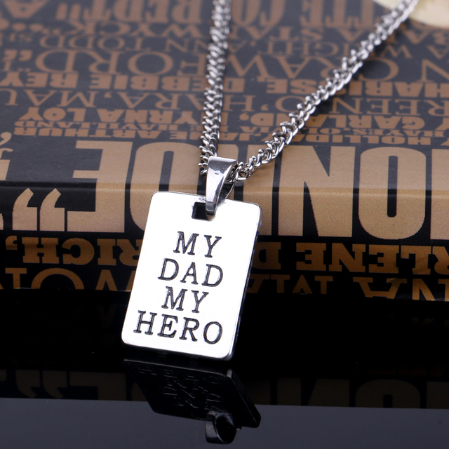 Bespmosp Fathers Day Gift My Dad My Hero Rectangle Pendant Necklace