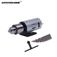 Mini DC 12V Electric Motor For Wood PCB Hand Drill Press Drilling Set With 10PC 0