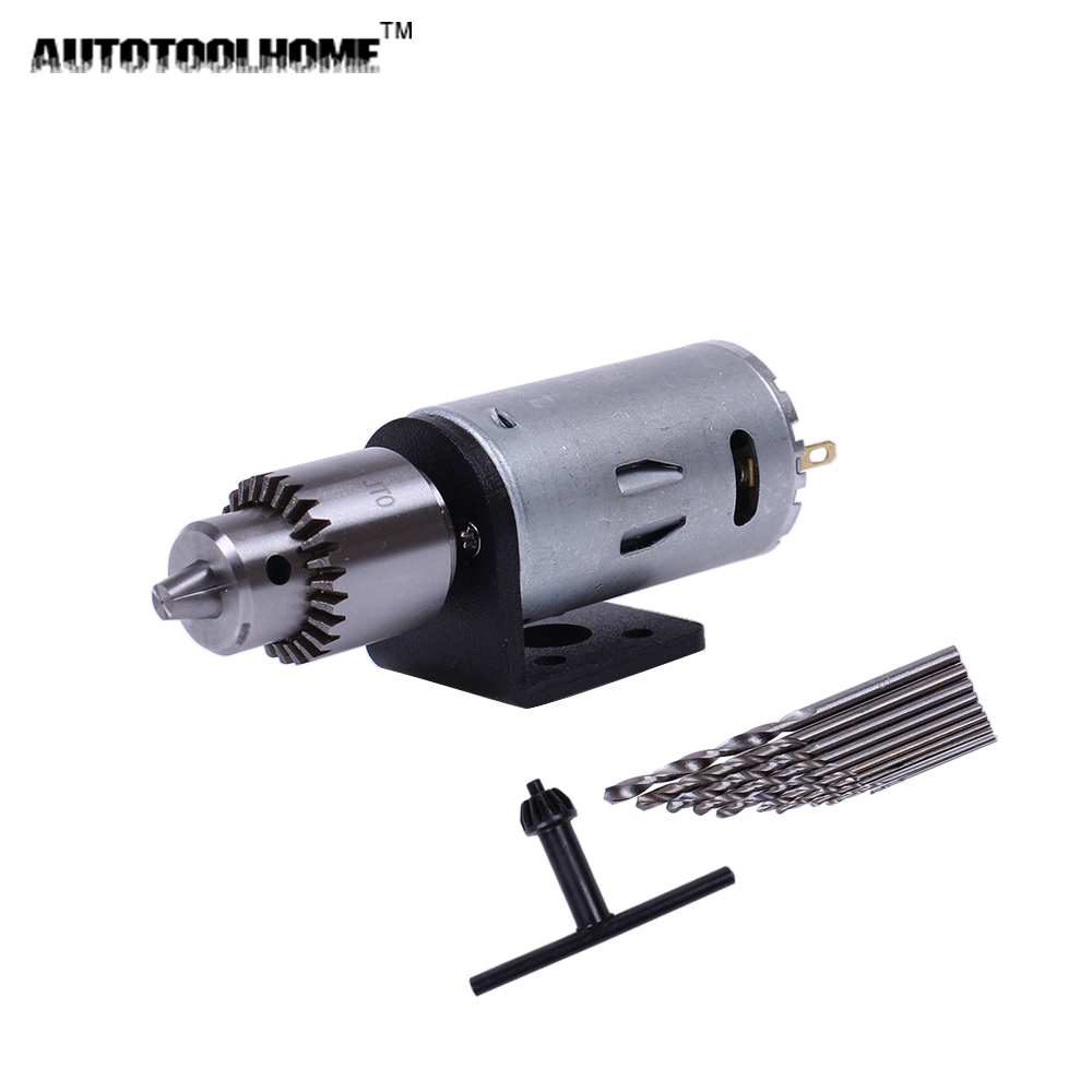 AUTOTOOLHOME Mini DC 12V Electric Motor for Wood PCB Hand Drill Press Drilling 0.5-3mm Twist Bits and JTO Chucks Bracket Stand autotoolhome mini dc 12v electric motor for wood pcb hand drill press drilling 0 5 3mm twist bits and jto chucks bracket stand