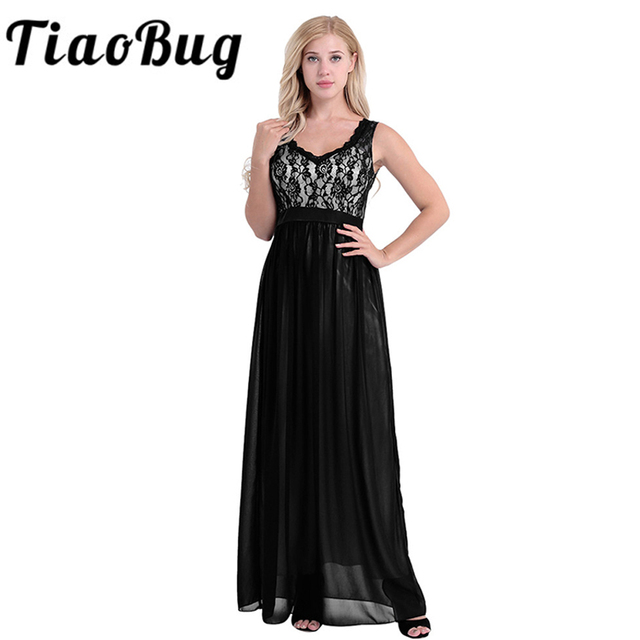 015d02f950b10 US $20.69 35% OFF|Women Ladies Elegant Sleeveless V Neck Chiffon Bridesmaid  Dress Embroidered Lace Floral Backless Formal Long Wedding Party Dress-in  ...