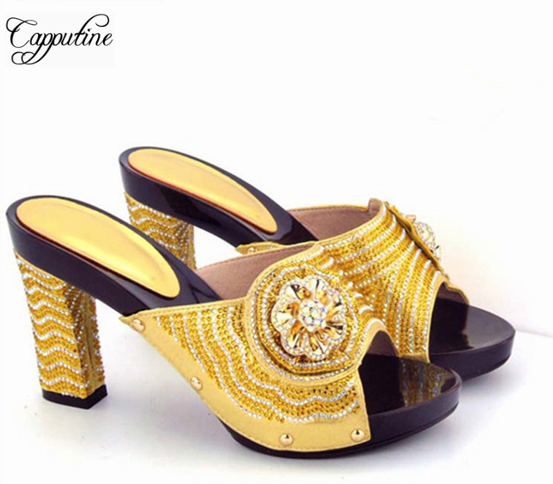 Capputine 2017 New Arrival African Woman Sandals Shoes Italian Rhinestone Fashion High Heels Shoes For Party Dress capputine new arrival fashion shoes and bag set high quality italian style woman high heels shoes and bags set for wedding party