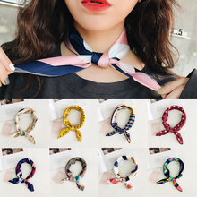 Fashion 40 Tyles Women Girls Scarf Vintage Elegant Square Cool Print Hair Tie Band Silk Feel Satin Scarf(China)