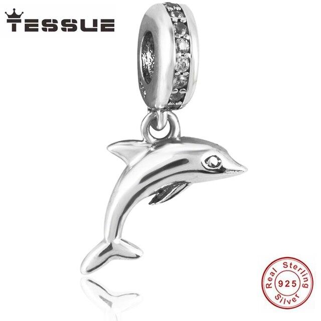 b8d905a96 TESSUE DIY making 100% S925 Sterling Silver Dolphin Pendants Fit Original  Pandora Bracelet straps Charms