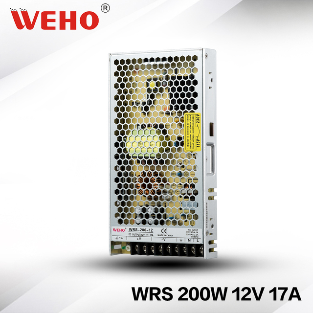 WRS 200 12)slim type SMPS 12v 200w 16.7a constant voltage power ...