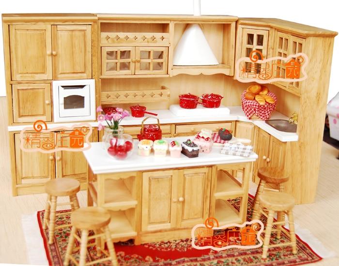 US $98.99 10% OFF G05 X4307 kinder baby geschenk Spielzeug 1:12 Puppenhaus  mini Möbel Miniatur rement holz küche set 8 stücke-in Puppen-Zubehör aus ...