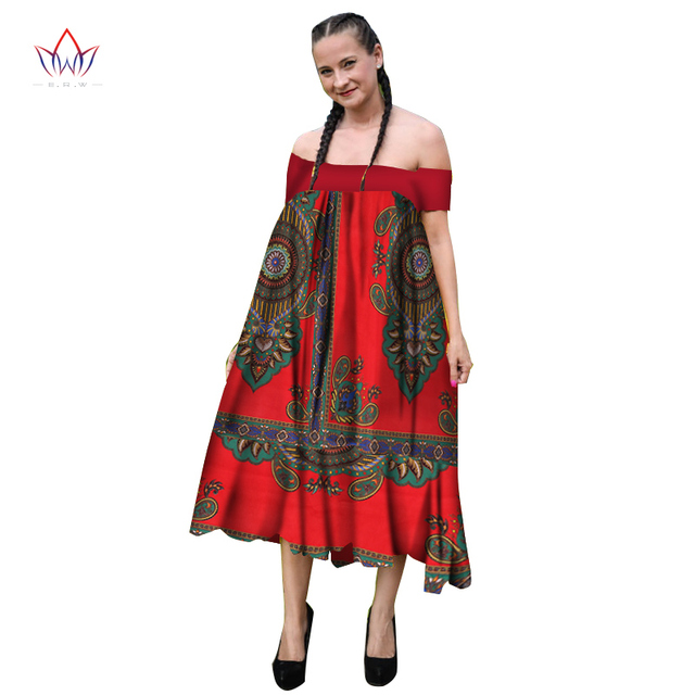 Summer African Women's Print Dresses African Dashiki Traditional clothing African Print Dress for Women Plus Size 6XL BRW WY1826
