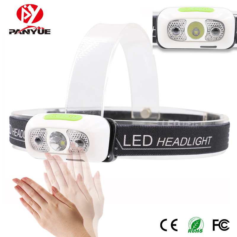 PANYUE Wholesale 10PCS LED Headlamp Reaction Portable Mini Headlight Waterproof XPG2 led rechargeable Front Head Lights