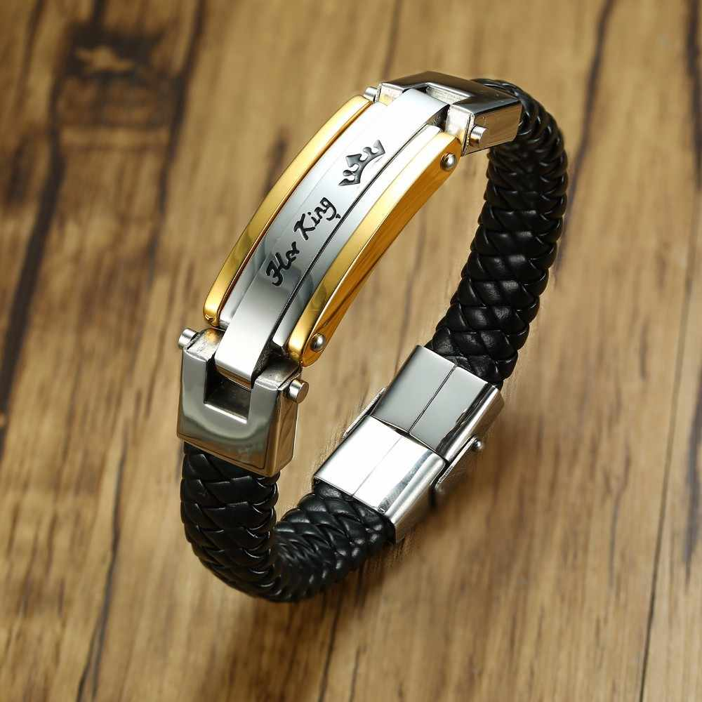 Lovers Braid Couples Bracelet Leather Bangle For Men Women In Black Color Stainless Steel King Queen For Her His Braslet Jewelry