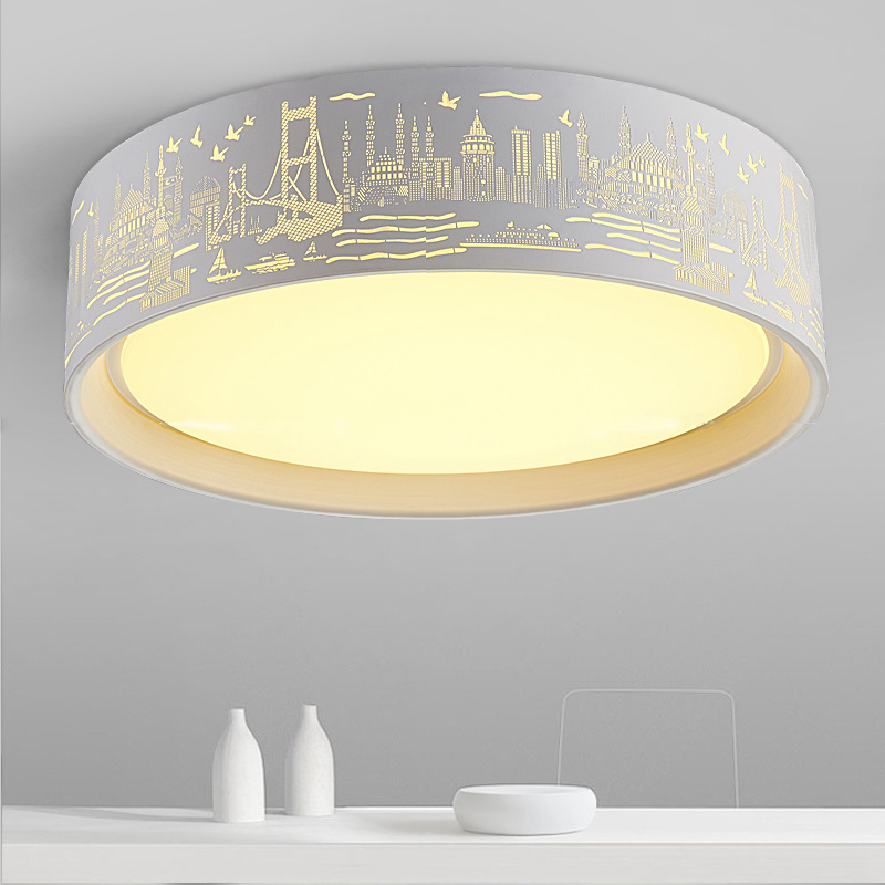 Nordic round LED ceiling light Landscape engraving wrought iron simple modern restaurant children bedroom lamp nordic round led ceiling light landscape engraving wrought iron simple modern restaurant children bedroom lamp
